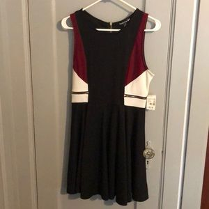 Black red and white dress